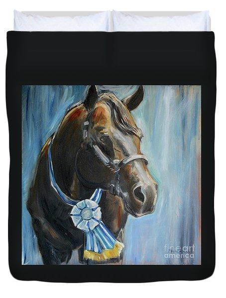 Black Horse Blue Ribbon Duvet Cover