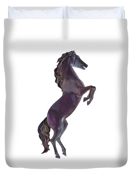 Black Horse Duvet Cover by Elizabeth Lock