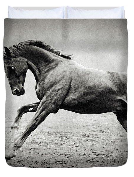 Black Horse In Dust Duvet Cover