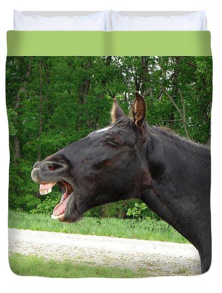 Black Horse Laughs Duvet Cover