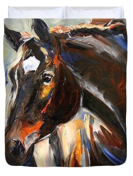 Black Horse Oil Painting Duvet Cover