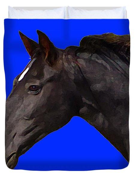 Black Horse Spirit Blue Duvet Cover