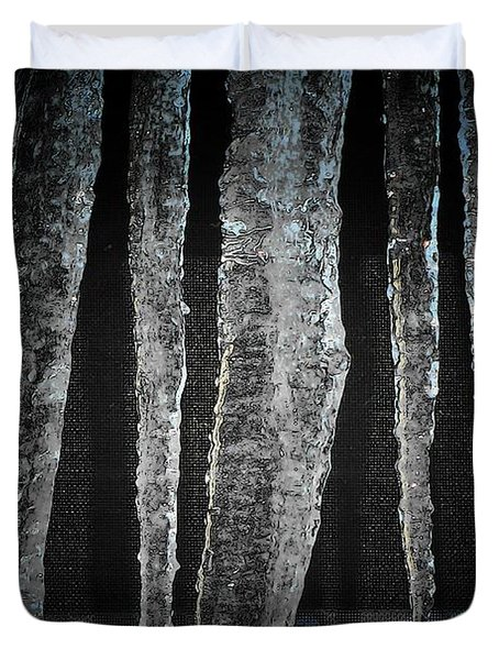 Duvet Cover featuring the digital art Black Ice by Barbara S Nickerson