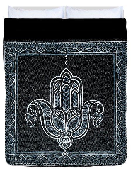 Black Khamsa Duvet Cover by Eleanor Hofer