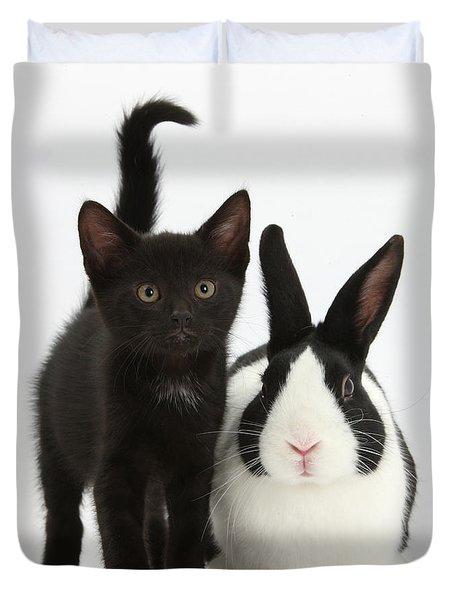 Black Kitten And Dutch Rabbit Duvet Cover by Mark Taylor