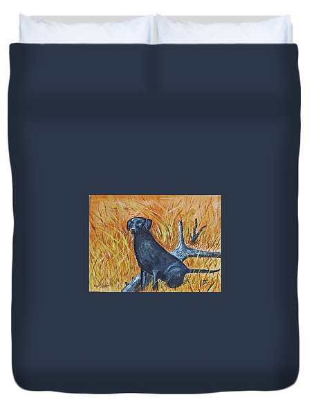 Duvet Cover featuring the painting Black Lab-2 by Donald Paczynski