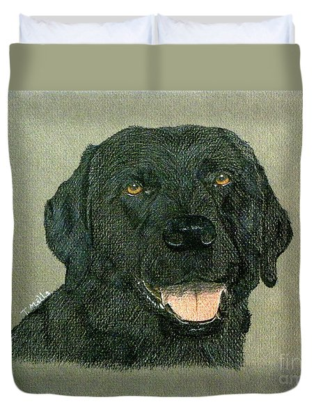 Duvet Cover featuring the drawing Black Labrador Retriever by Terri Mills