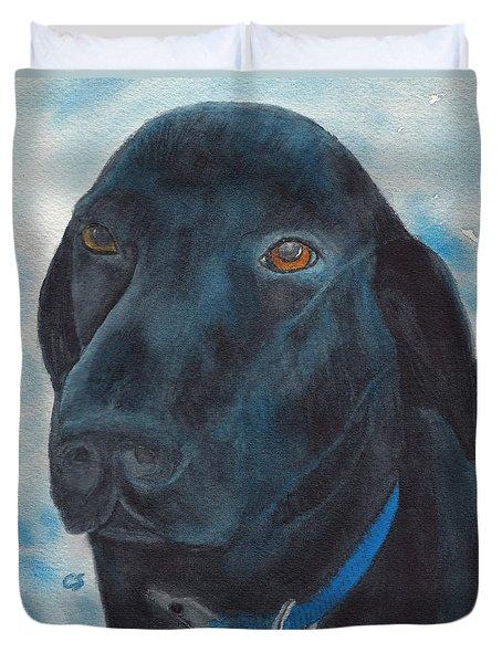 Black Labrador With Copper Eyes Portrait II Duvet Cover