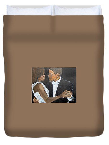 Duvet Cover featuring the painting Black Love Is Black Power by Saundra Johnson