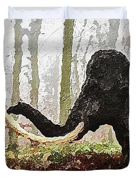 Duvet Cover featuring the digital art Black Mammoth by PixBreak Art