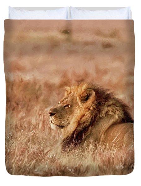 Black-maned Lion Of The Kalahari Waiting Duvet Cover