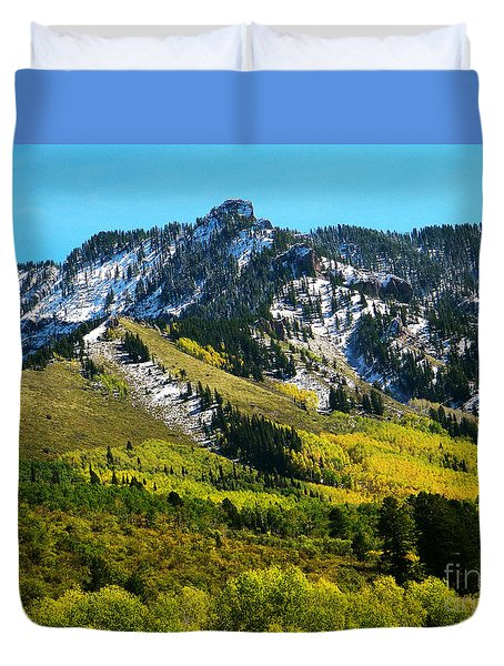 Black Mesa Rocky Peak In Autumn Duvet Cover