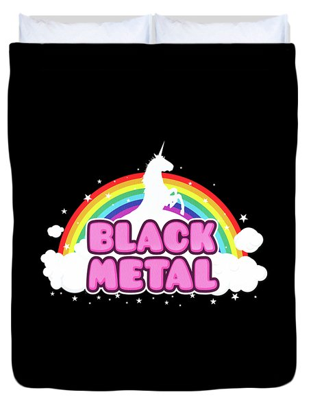 Black Metal Funny Unicorn / Rainbow Mosh Parody Design Duvet Cover