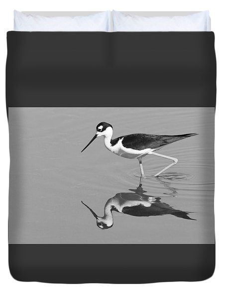 Duvet Cover featuring the photograph Black-necked Stilt - Black And White - Monochrome by Ram Vasudev