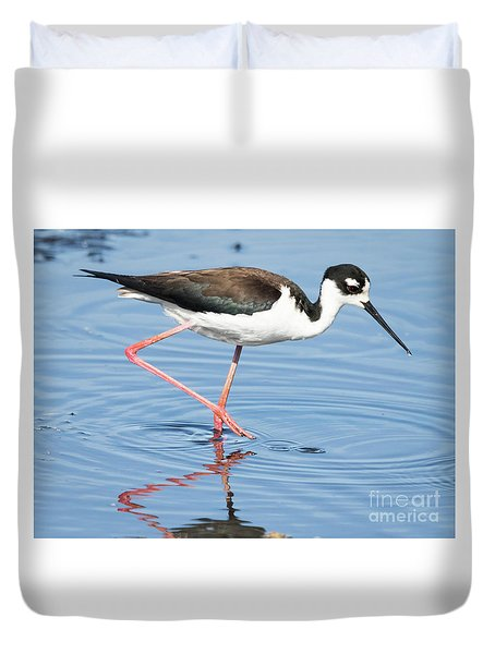Duvet Cover featuring the photograph Black-necked Stilt Wading  by Ricky L Jones