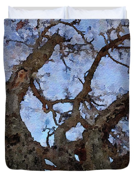 Duvet Cover featuring the painting Black Oaks by Mark Greenberg