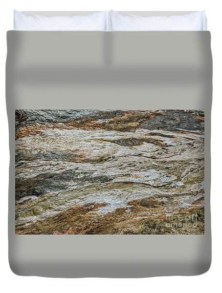 Duvet Cover featuring the photograph Black Obsidian Sand And Other Textures by Sue Smith