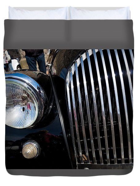 Duvet Cover featuring the photograph Black Oldtimer Car by Hans Engbers