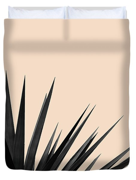 Black Palms On Pale Pink Duvet Cover