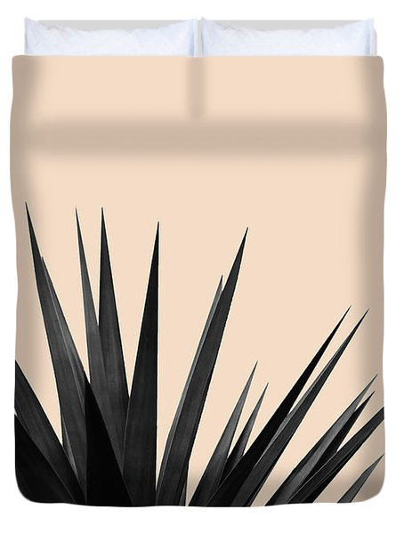 Black Palms On Pale Pink Duvet Cover