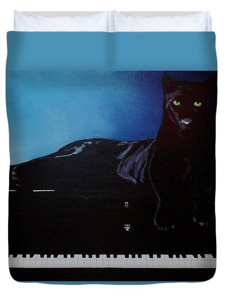 Black Panther And His Piano Duvet Cover