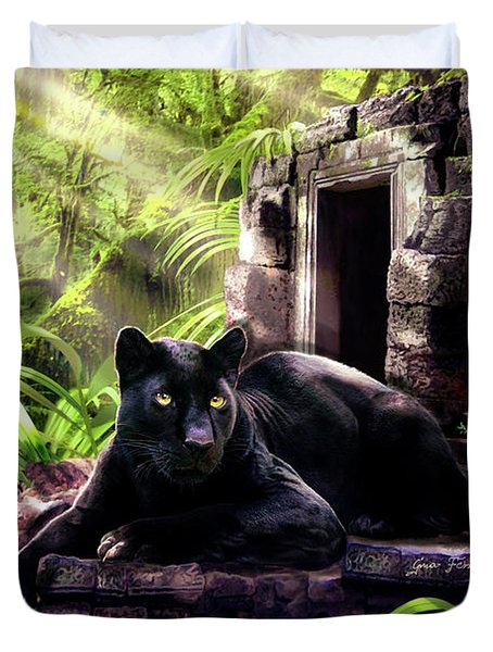 Black Panther Custodian Of Ancient Temple Ruins  Duvet Cover by Regina Femrite