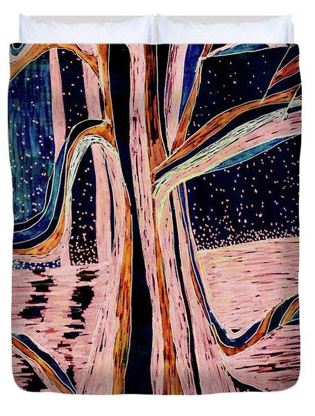 Black-peach Moonlight River Tree Duvet Cover