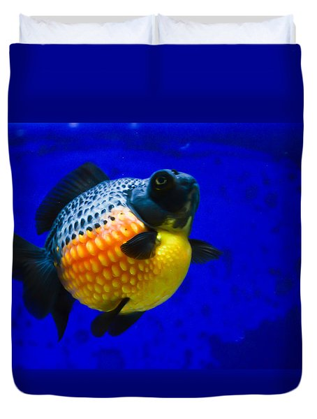 Black Pearl Goldfish Duvet Cover