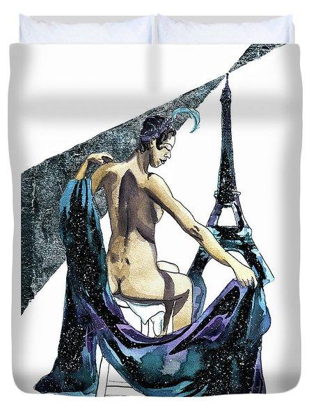 Black Pearl Of Paris Duvet Cover