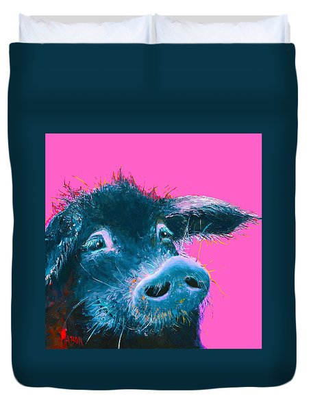 Black Pig Painting On Pink Background Duvet Cover
