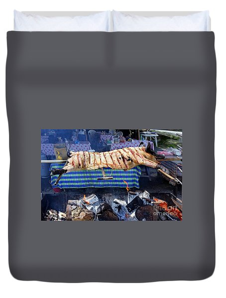 Duvet Cover featuring the photograph Black Pig Spit Roasted In Taiwan by Yali Shi