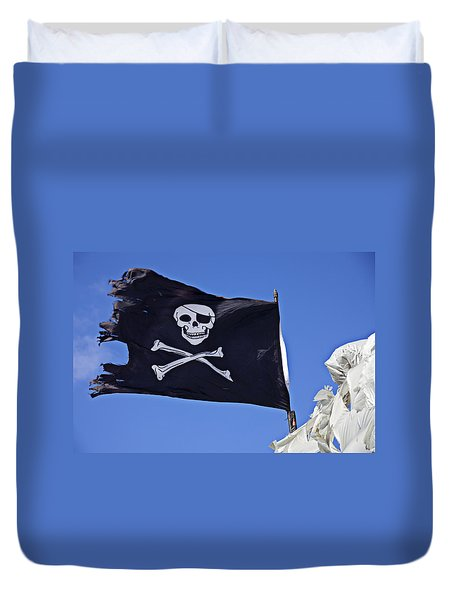 Black Pirate Flag  Duvet Cover by Garry Gay