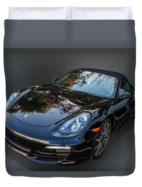 Black Porsche Duvet Cover by Robert Hebert