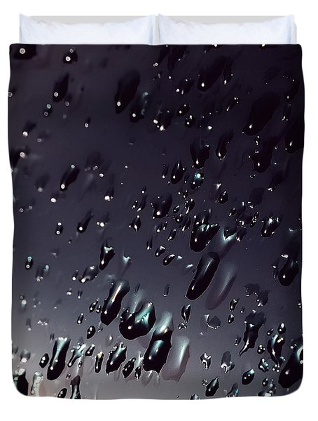 Black Rain Duvet Cover