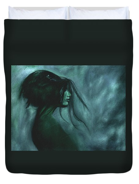Duvet Cover featuring the painting Black Raven by Ragen Mendenhall