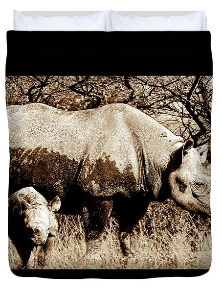 Black Rhino And Youngster Duvet Cover