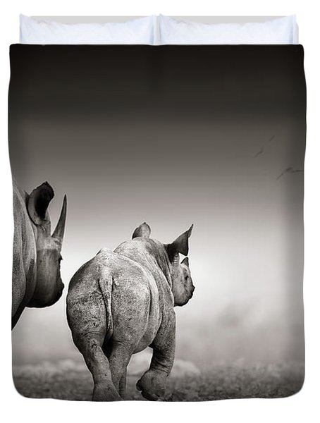 Black Rhino Cow With Calf  Duvet Cover