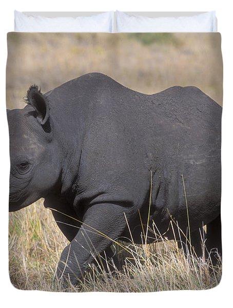Black Rhino On The Masai Mara Duvet Cover by Sandra Bronstein