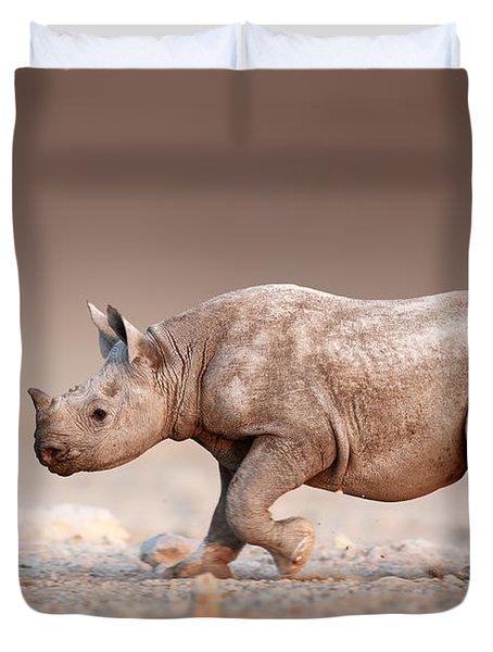 Black Rhinoceros Baby Running Duvet Cover