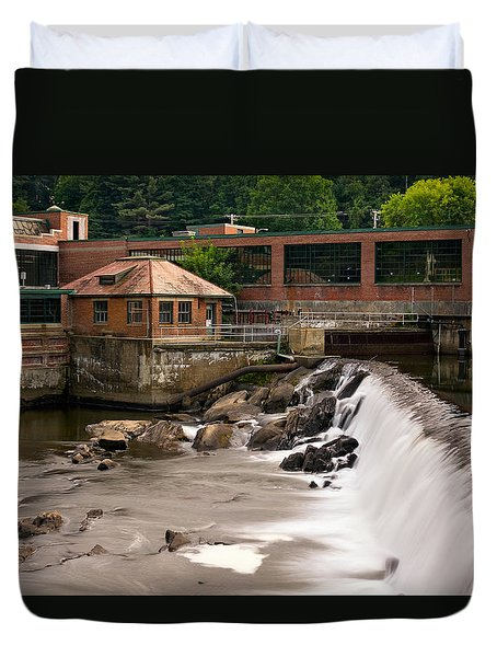 Duvet Cover featuring the photograph Black River Falls, Springfield, Vt by Betty Denise