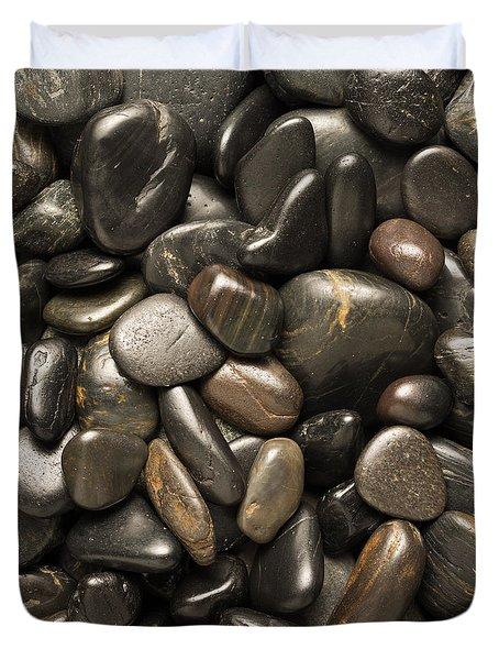 Black River Stones Square Duvet Cover by Steve Gadomski