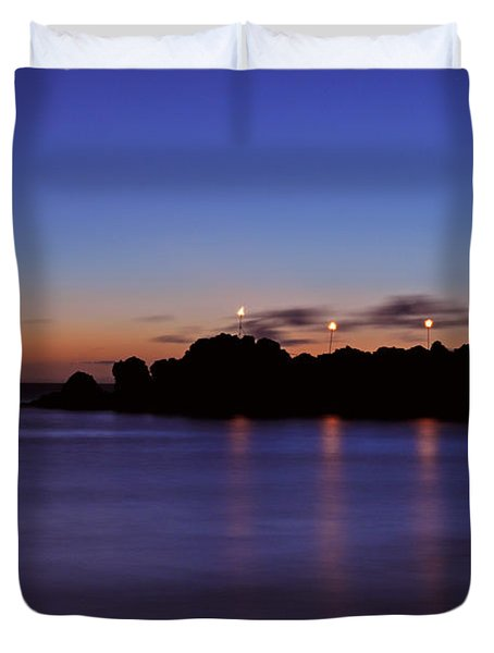 Black Rock Sunset Duvet Cover