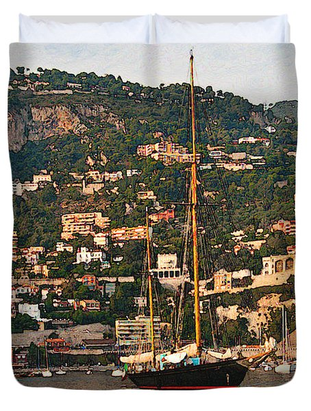 Black Sailboat At Villefranche II Duvet Cover by Steven Sparks
