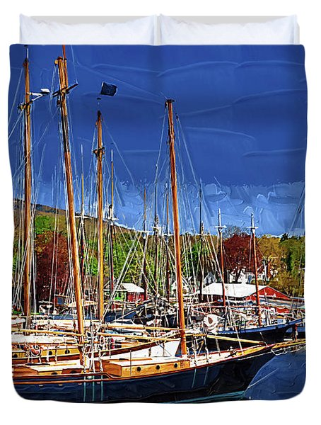 Black Sailboats Duvet Cover