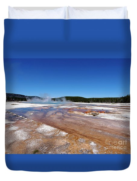 Black Sand Basin In Yellowstone National Park Duvet Cover by Louise Heusinkveld