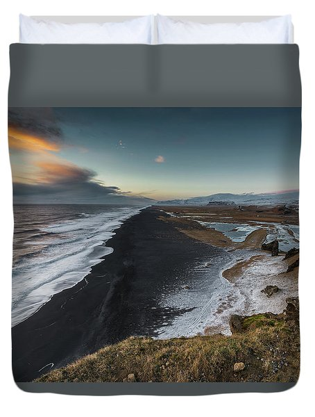 Duvet Cover featuring the photograph Black Sand Beach by Allen Biedrzycki