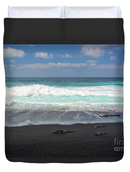 Black Sand Beach Duvet Cover by Delphimages Photo Creations