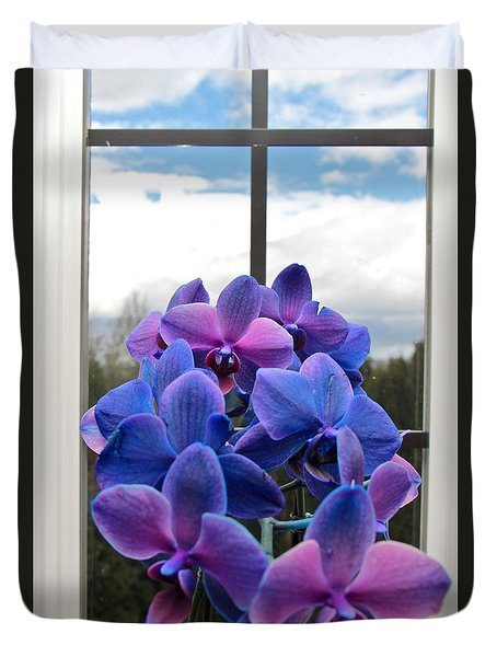 Duvet Cover featuring the photograph Black Sapphire Orchids  by Aaron Berg