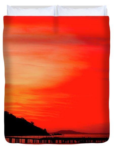 Black Sea Turned Red Duvet Cover by Reksik004