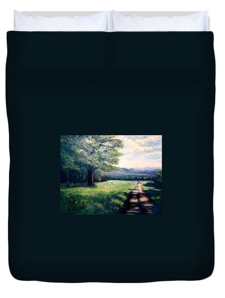 Duvet Cover featuring the painting Black Sheep by Gail Kirtz